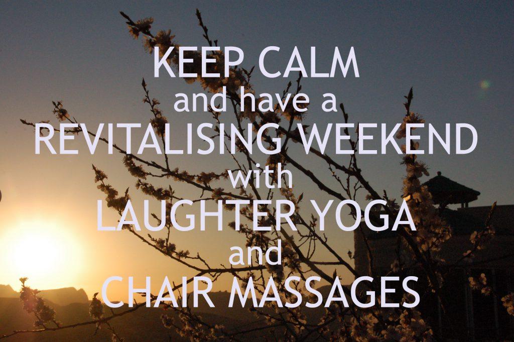 Laughter yoga and chair massage at B&B Petra Fig Tree Villa