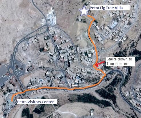 Walk from B&B Petra Fig Tree Villa to Petra's Visitors Centre.