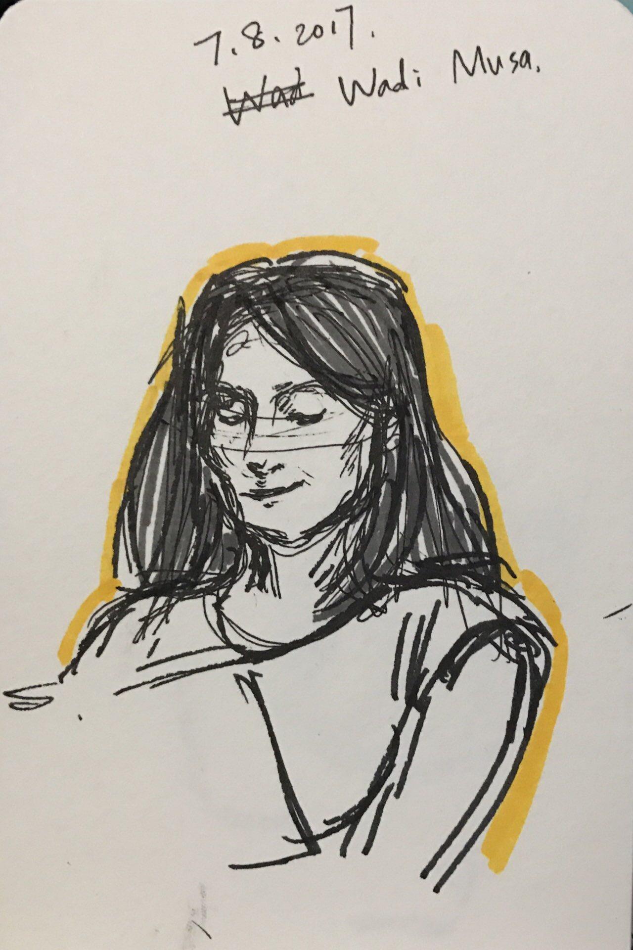 Drawing of Jolanda Koopman by Sofia guest of B&B Petra Fig Tree Villa