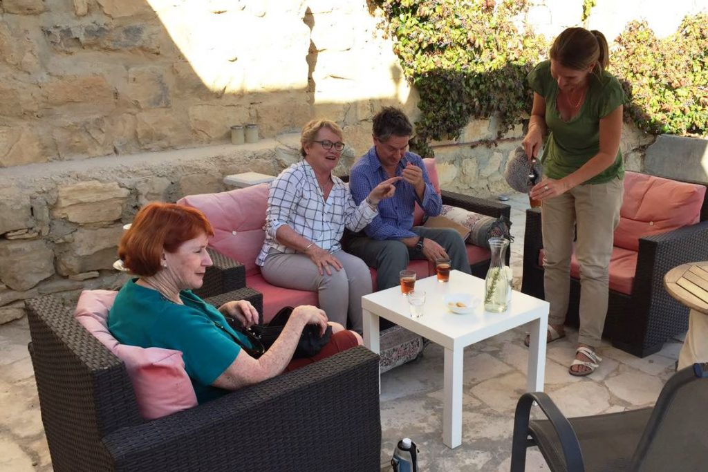 Tea time at the terrace of B&B Petra Fig Tree Villa