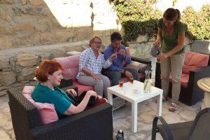 Tea time at the terrace of B&B Petra Fig Tree Villa