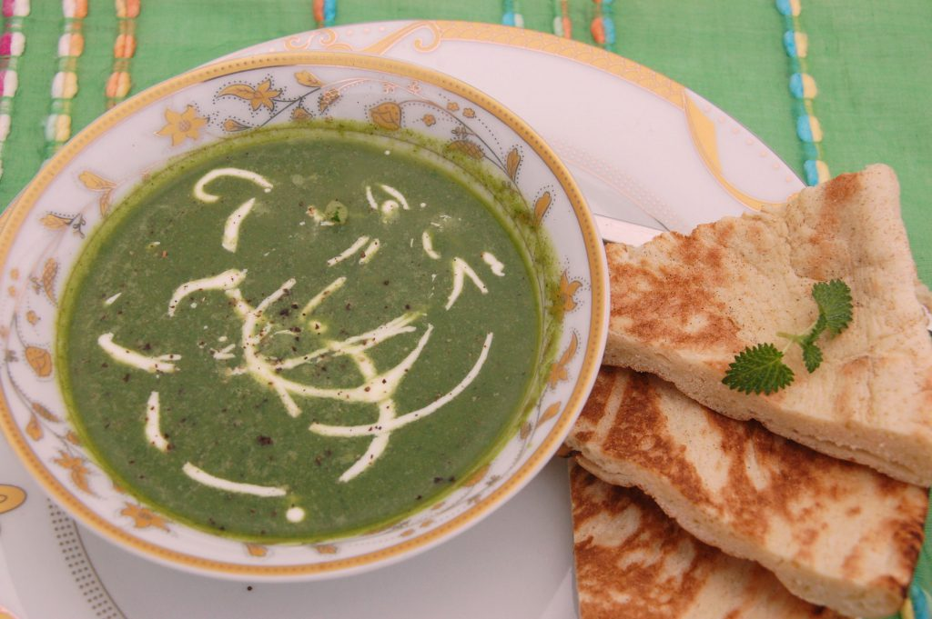 Spinach soup in B&B Petra Fig Tree Villa