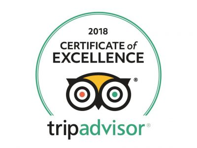 Tripadvisor sticker certificate of Excellence 2018 for bed and breakfast Petra Fig Tree Villa