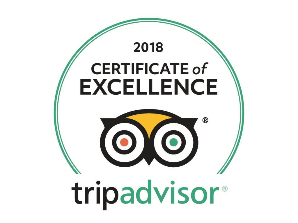 Tripadvisor certificate of Excellence 2018 for bed and breakfast Petra Fig Tree Villa