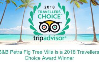 2018 Tripadvisor Travelers choice award winner bed and breakfast Petra Fig Tree Villa