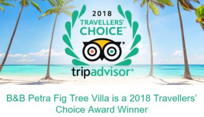 2018 TA Travelers choice award B&BPetra Fig Tree Villa
