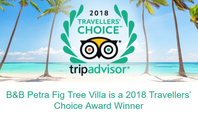 2018 Tripadvisor Travelers choice award winner bed and breakfast Petra Fig Tree Villa