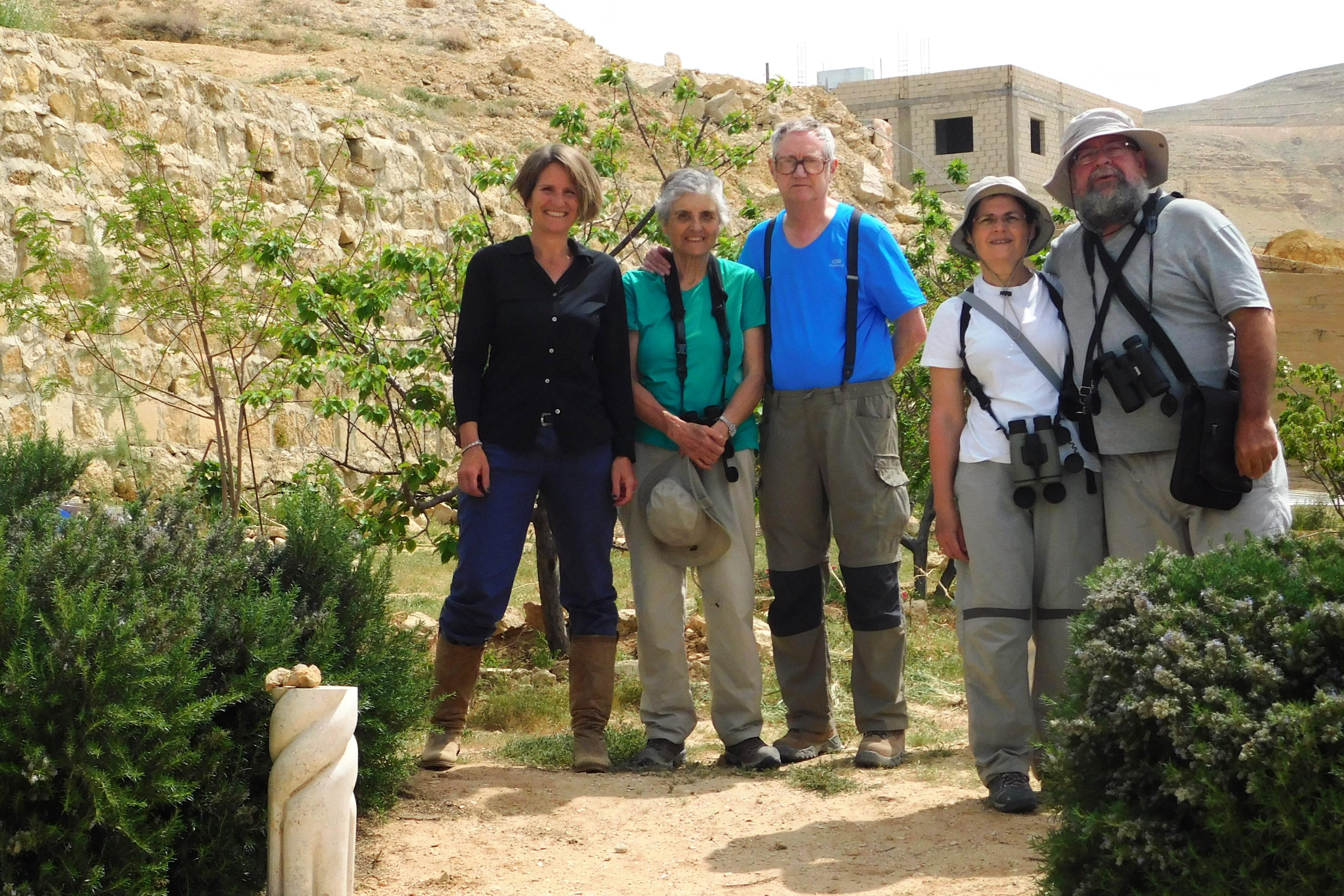 Spanish bird watchers in the garden of B&B Petra Fig Tree Villa, Wadi Musa, Petra, Jordan.