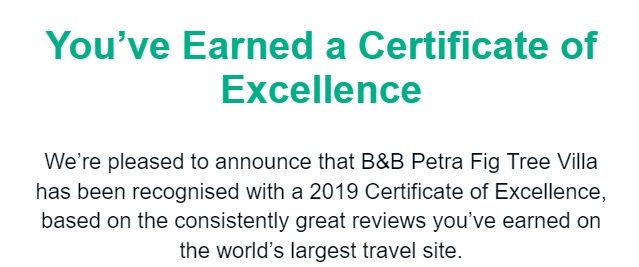 2019 Tripadvisor Certificate of Excellence for bed and breakfast Petra Fig Tree Villa with explenation
