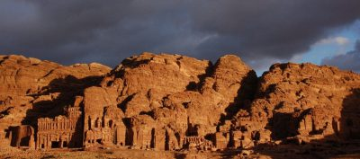 View on the Royal tombs in Petra with afternoon light